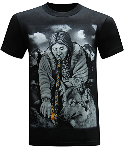 Native American Peace Pipe Men's T-Shirt - (Large) - Black