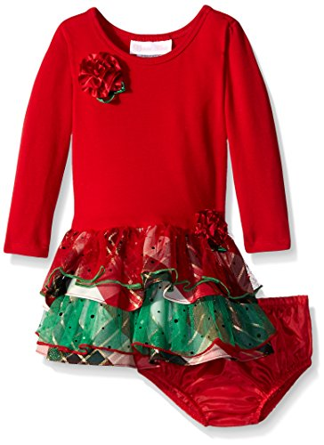 Bonnie Baby Baby-Girls Knit Drop Waist to Mesh and Taffeta Plaid Tiers, Red, 18 ()