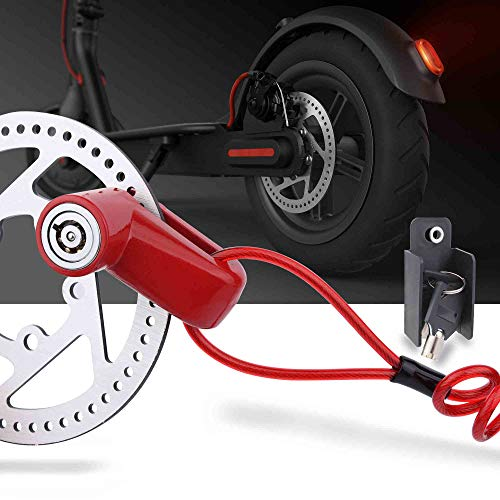 Price comparison product image TOMALL Red Disc Brake Lock Anti-theft Steel Wire Lock For Xiaomi Mijia M365 Motorcycle Bicycle Wheels Locker With Reminder Rope