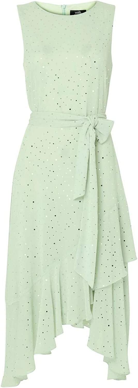EX Wallis Blush//Mint Glitter Tiered Midi Occasion Dress
