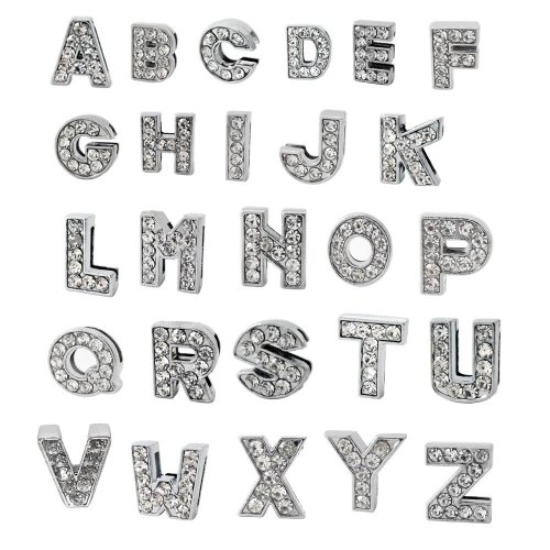 A-Z Letter Slide Charm, Nickel Free Alloy Rhinestone Beads 8mm]()