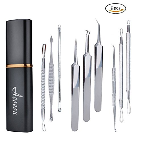 Blackhead Remover Acne Tool 9PCS Kit , Aooeou Professional Stainless Steel Curved Pimple Tweezers Comedone Extractor Instrument Tool Set for Curing Facial Blemish Whitehead