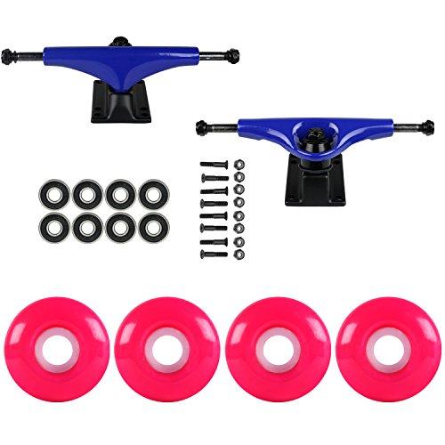 中庭マエストロ仮定するスケートボードパッケージHavocブルー5.0 Trucks 52 MmネオンピンクABEC 7 Bearings