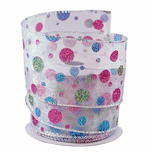 Glitter Dots Pink, Blue & Lime on Sheer Wired Ribbon #40 - 2.5in x 10 yards (Pink Easter Spring)