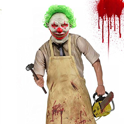 Halloween Clown Mask Scary Vampire Latex Costumes Cosplay Party Decorations Props With Green Hair