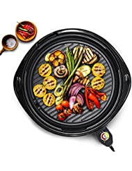 """Elite Platinum EMG-980B Large Indoor Electric Round Nonstick Grilling Surface, Faster Heat Up, Ideal Low-Fat Meals, Easy To Clean Design, Includes Glass Lid, 14"""", Black"""