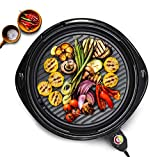 "Elite Platinum EMG-980B Large Indoor Electric Round Nonstick Grilling Surface, Faster Heat Up, Ideal Low-Fat Meals, Easy To Clean Design, Includes Glass Lid, 14"", Black"