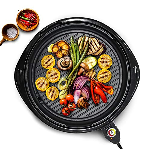 Elite Platinum EMG-980B Large Indoor Electric Round Nonstick Grilling Surface, Faster Heat Up, Ideal Low-Fat Meals, Easy To Clean Design, Includes Glass Lid, 14