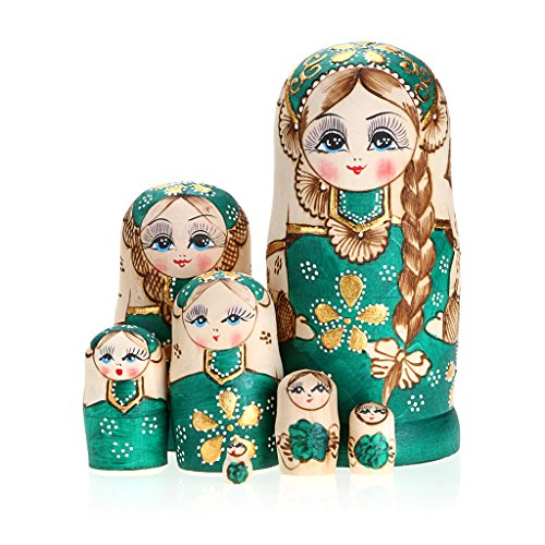 Sumnacon Handmade Wooden Nesting Dolls,7 Pcs Beautiful Lovely Girl Matryoshka Traditional Wishing Nesting Dolls – Meaningful Kids Toy/Birthday Christm…
