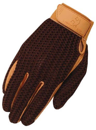 Heritage Crochet Riding Gloves, Size 8, Brown/Tan