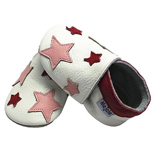 Mejale Weiche Sohle Leder Babyschuhe Lauflernschuhe Krabbelschuhe Kleinkind Kinderschuhe Hausschuhe Karikatur Sterne 0-3 Jahre Weiß