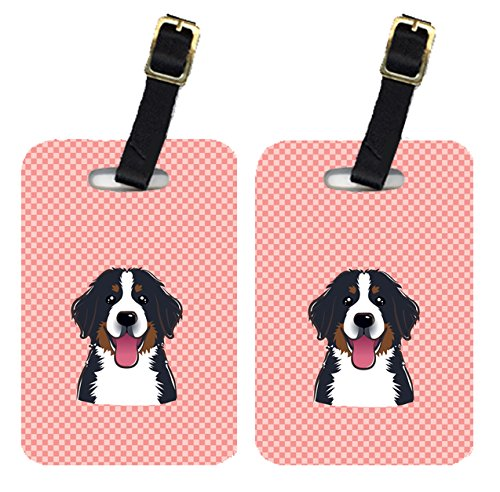 Caroline 's Treasures bb1237btのペアCheckerboardピンクBernese Mountain Dog荷物タグ、L、マルチカラー   B00RUNW7OC