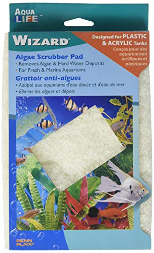 Penn Plax WZP4 Wizard Algae Scrubber Pad - for Plastic or Acrylic Tanks - 6