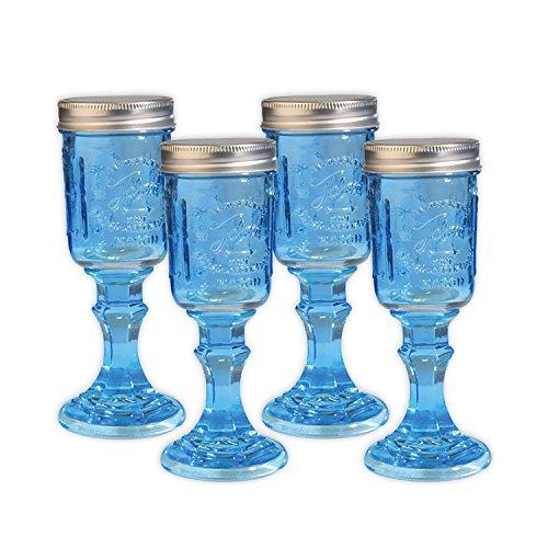 Toland Home Garden Mason Jar 8 oz Wine Glass (Set of 4), Blue, 1/2 pint -