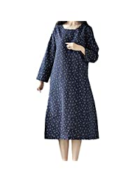 HEFEITONG Women Plue Size Long Sleeve Patchwork Cotton Linen Loose Print Bohe Dress