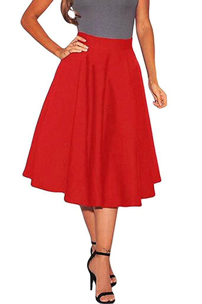 Wowforu Women Autumn High Waist Solid Pleated Midi A-line Skirt