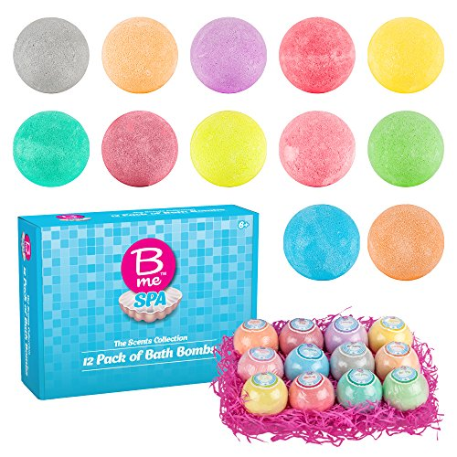 Spa Bath Bombs Gift Set - Pack of 12 Colorful Individually Wrapped 80g Bath Bomb Fizzies in a Variety of Fruity, Floral & Tropical Fragrances - Perfect Gift idea For Women & Kids