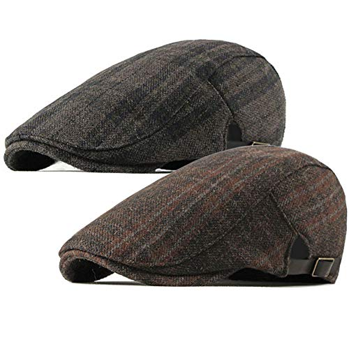 (ALL IN ONE CART 2 Pack Men's Warm Wool Tweed Blend Newsboy Flat Cap Ivy Cabbie Driving Winter Hat (Dark Grey/Orange))