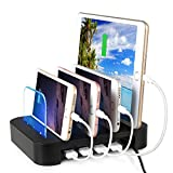 4-Port USB Charging Station Dock, FeBite 24W Charger Organizer for iPhone 6 Plus/6/5S/5C/5/4S, iPad Pro/Air/Mini/3/2/1, Samsung Galaxy S6 Edge/S6/S5/S4/S3/Note/Note2/Tab, iPod, Nexus, HTC, and more