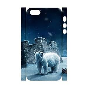 3D IPhone 5,5S Case Polar Bear on the Snow, Protector Bear Dustin, {White}