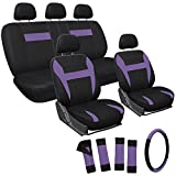 OxGord 17pc Set Flat Cloth Mesh / Purple & Black Auto Seat Covers Set - Airbag Compatible - Front Low Back Buckets - 50/50 or 60/40 Rear Split Bench - 5 Head Rests - Universal Fit for Car, Truck, Suv, or Van - FREE Steering Wheel Cover