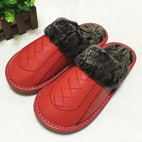 Pantofole fankou femmina maschio inverno anti-slittamento di spessore caldo cotone shoes home paio di pantofole di cotone ,39-40, rosso