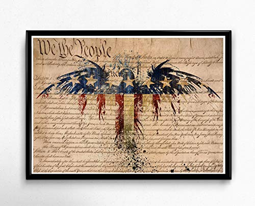 American flag art print, Us Constitution, american eagle, Patriotic decor