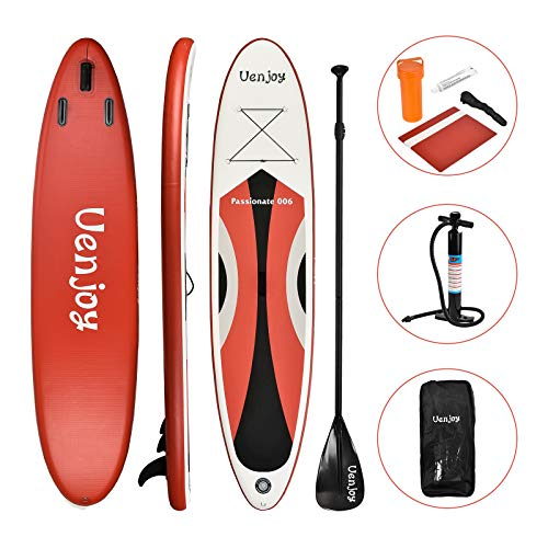 Uenjoy 10 Inflatable Stand Up Paddle Board (6 Inches Thick) Non-Slip Deck Adjustable Paddle Backpack,Pump, Repairing kit, Red