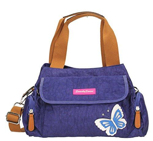 Madison-Custodia con Zip da donna, Multi-Borsa a tracolla con farfalle in 3d,-- SWANKYSWANS Blu (Blu Royal)