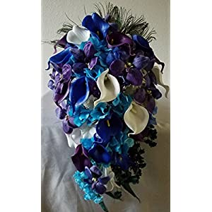 Purple Blue Turquoise Orchid Calla Lily Cascading Bridal Wedding Bouquet & Boutonniere 72