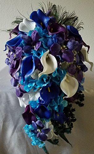 Purple Blue Turquoise Orchid Calla Lily Cascading Bridal Wedding Bouquet & - Lily Orchid Calla Bouquet
