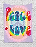 Ambesonne Groovy Decorations Tapestry Wall Hanging, Peace and Love Tie Dye Pattern Energetic Youthful Decorative Fun Design, Bedroom Living Room Dorm Decor, 60 W x 80 L inches