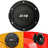 Gas Cap Cover for Jeep Wrangler - Gas Tank Cover Satin Black Powder Coated Steel Fuel Filler Door Cover for Jeep Wrangler Accessories 2007 - 2017 JK & Unlimited 4 Door 2 Door Sport Rubicon Sahara