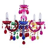 5 Light Dual Mount Chandelier Marie Therese White, Chrome, Multi Coloured, Black, Silver Acrylic Bedroom Living Room Ceiling Light Litecraft … (Multi Coloured)