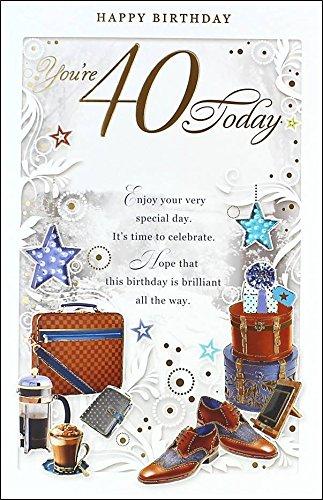Edad 40 Macho Tarjeta de cumpleaños - 40 hoy marrón maletín ...