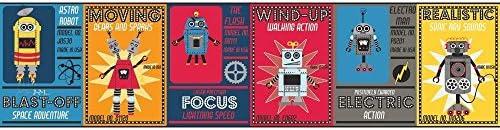 York Wallcoverings wk6750bd Waverly Kids Robotic Border、レッド/ネイビーブルー/ブルー/グレー/イエロー/ブラック/ホワイト