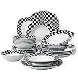 Cheap VEWEET Service for 6 (Louise Series) with Dinner, Soup, Dessert 24-Piece Ceramic Dinnerware Black Mosaics Pattern Porcelain Plate and Bowl Set, 19 x 12 x 10 inches