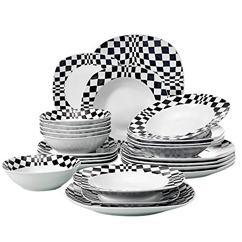 VEWEET Service for 6 (Louise Series) with Dinner, Soup, Dessert 24-Piece Ceramic Dinnerware Black Mosaics Pattern Porcelain Plate and Bowl Set, 19 x 12 x 10 inches