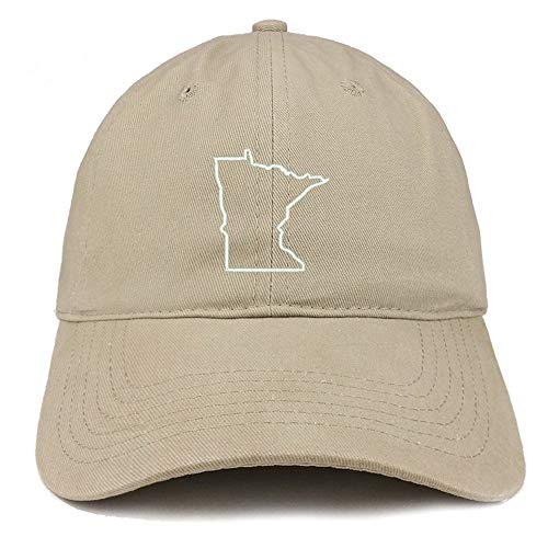 TOP LEVEL APPAREL Minnesota State Outline Embroidered Soft Cotton Dad Hat Khaki