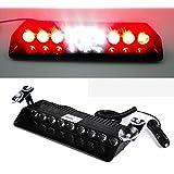 Ranzek 9 LED フロントライト 警告灯 9W 12V ダッシュボード インテリアカートラック緊急 ストロボフラッシュライト(赤と白)