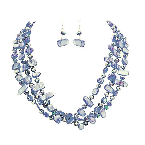 (Hush Deep Blue 3 Strand Individually Knotted Shell and Glass Bead Bib Necklace Set 17 Inches Long )