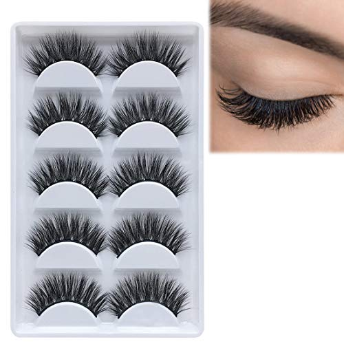 49ce17e803e 5 Pairs 3D Mink Lashes Dramatic Look Fake Eyelashes - DAODER Thick ...