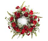 Pack of 2 Valentines Red Poppy and Geranium Flowers Artificial Wreaths 24'' - Unlit