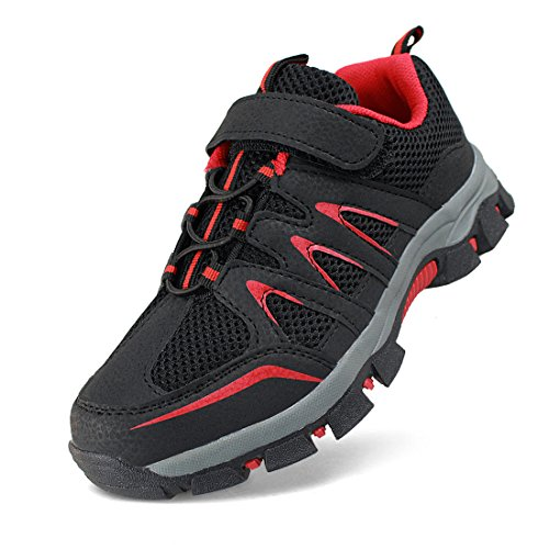 Hawkwell Kids Hook-and-Loop Outdoor Hiking Shoe(Little Kid/Big Kid),Black Red Mesh,1 M US