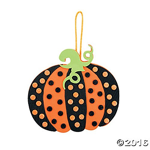 Set of 12 Glittery Polka Dot Pumpkin Ornament Foam Craft Kits ()