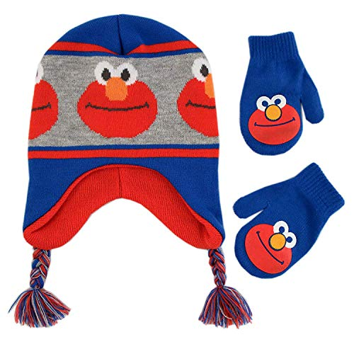 (Sesame Street Toddler Boy's Elmo Character Hat and Mittens Cold Weather Set Accessory, blue/grey/orange, Age)