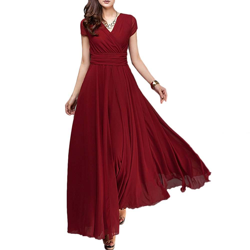 cda1c81d494 Elegant women Bohemia casual solid chiffon V-neck short sleeve empire waist  evening party long swing dress. ☘ Premium Quality  Pearl Chiffon +  Polyester