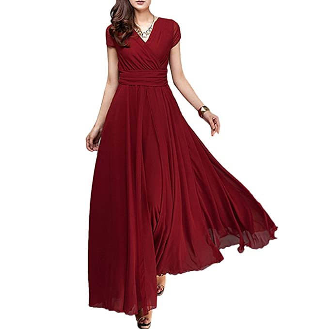 Women s Boho Solid Chiffon V-Neck Cocktail Bridesmaid Evening Party Gown  Ball Prom Long Maxi 948c514a8dc1