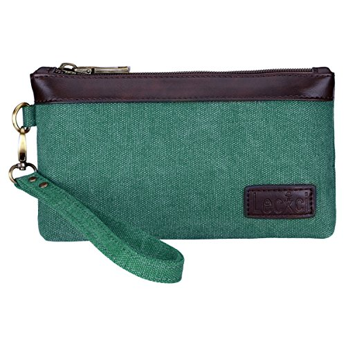 Lecxci Women's Canvas Smartphone Wristlets Bag, Clutch Wallets Purses for iPhone 6S/7 Plus/8 Plus/XS (Teal)]()