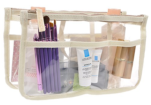 Printed Purse Insert Organizer,13 Pockets in Handbag Liner Bag In Bag with Zipper and Handles Beige